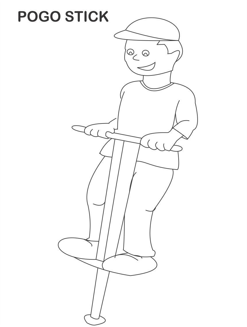 Pogo stick coloring page for kids