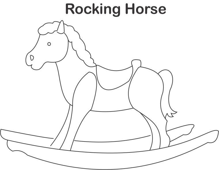 Rocking horse coloring page for kids