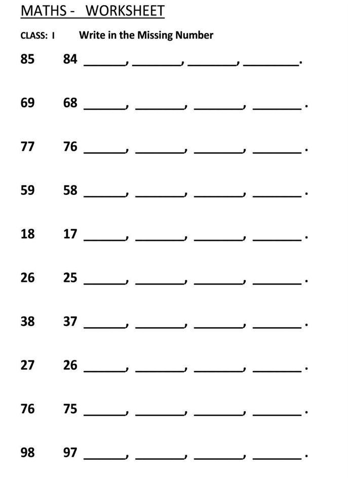 Missing Number - Fill in the blanks - Class 1 Maths Worksheet