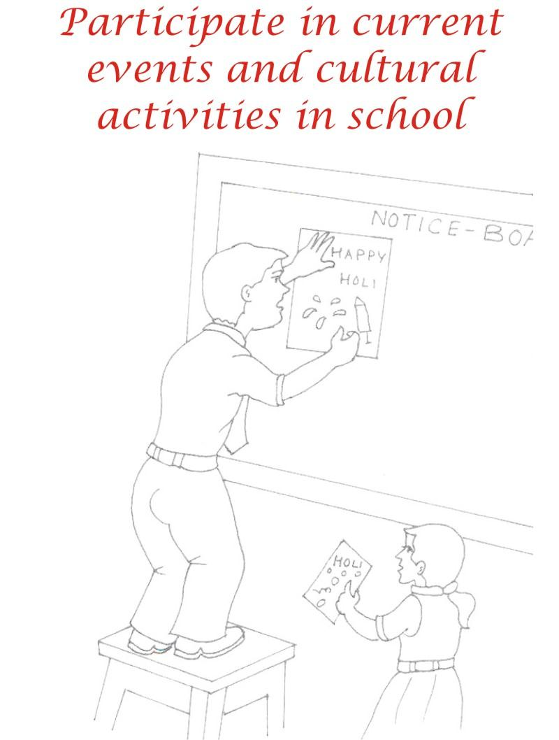 Manners in school coloring printable page for kids