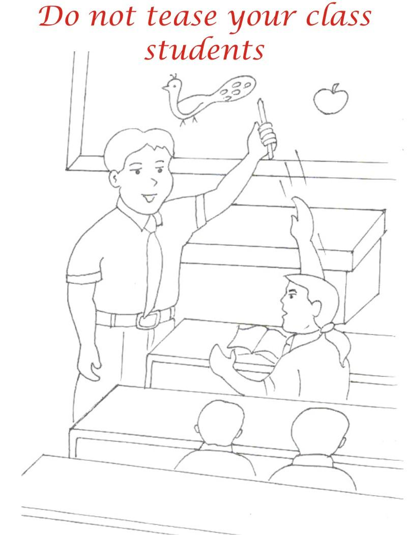 Teasing classmates coloring printable for kids