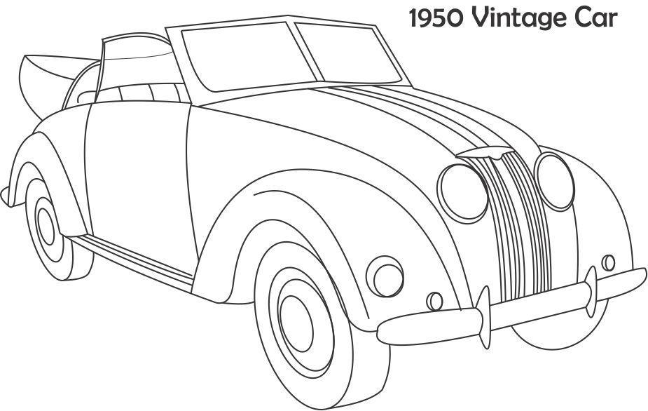 vintage car coloring printable page for kids. Black Bedroom Furniture Sets. Home Design Ideas