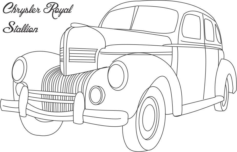 coloring pages cars antiques | chrysler royal stallion car coloring page for kids