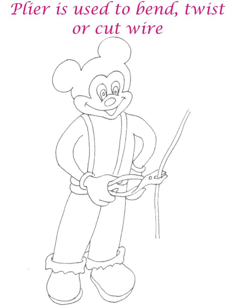 Plier coloring printable page for kids