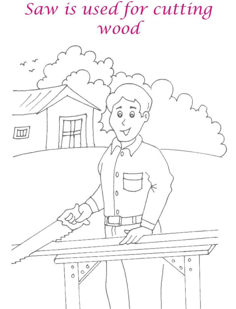 Saw coloring printable page for kids