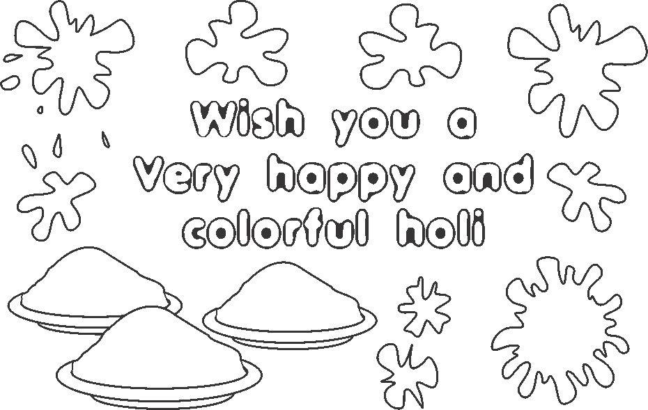 Holi Wishes Coloring Printable Page For Kids