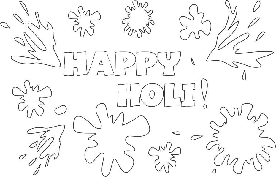 Happy Holi Coloring printable page 2 for kids