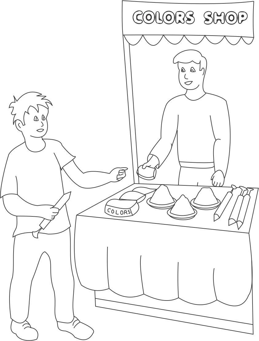 Markets on Holi coloring printable page for kids