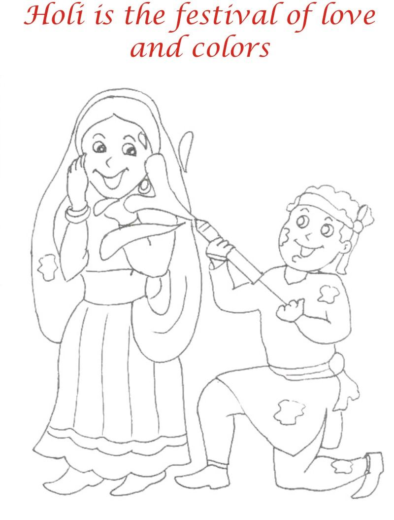 Holi coloring printable pages for kids 3