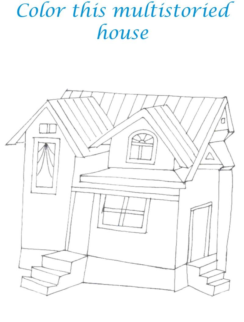 Sweet home coloring printable page for kids 4