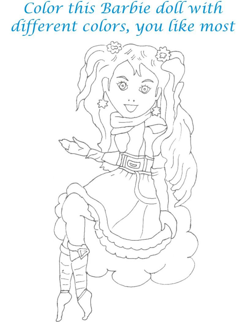 Dolls coloring printable page for kids 3