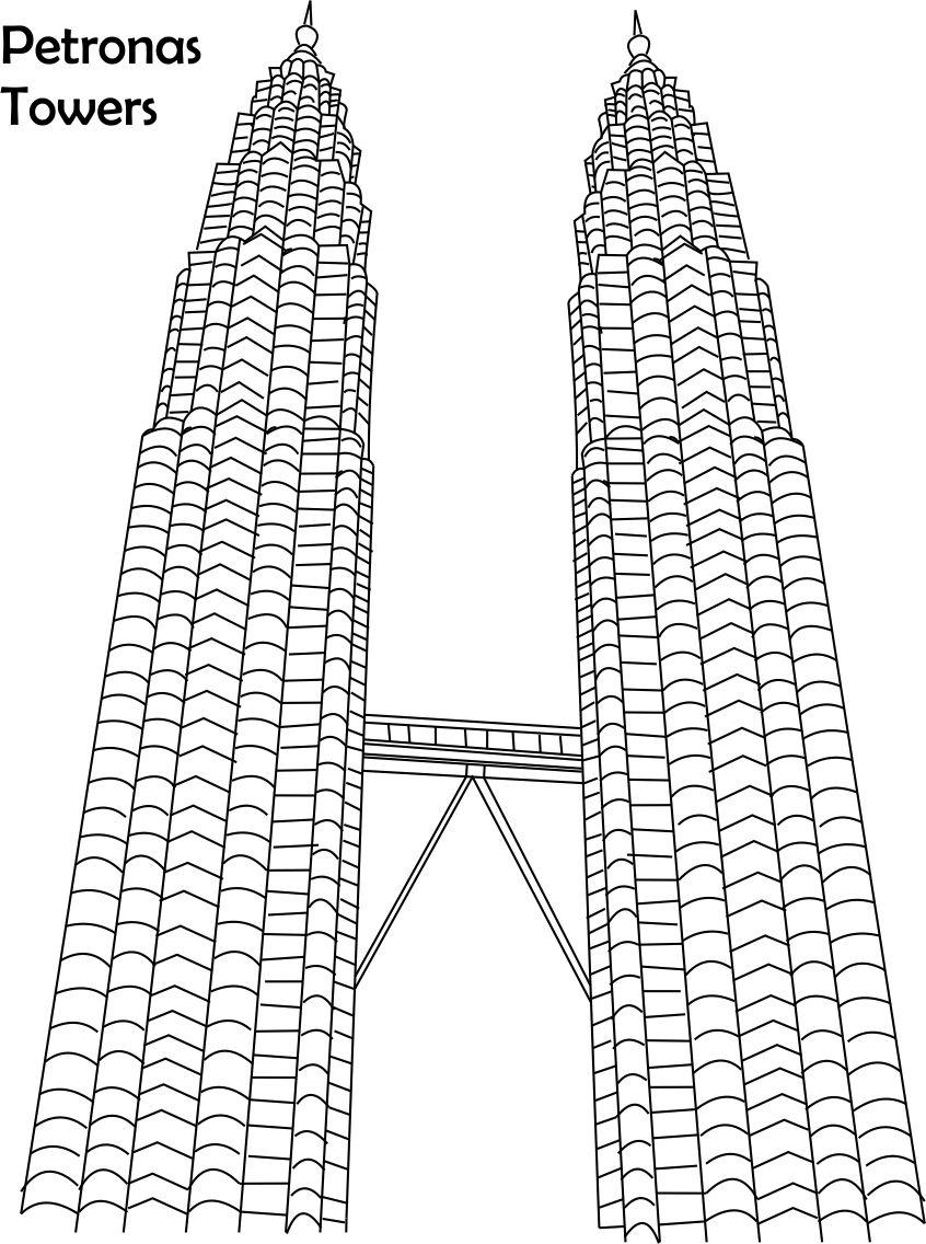 Petronas towers coloring page for
