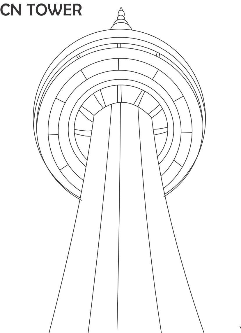 cn coloring pages | CN tower printable coloring page for kids
