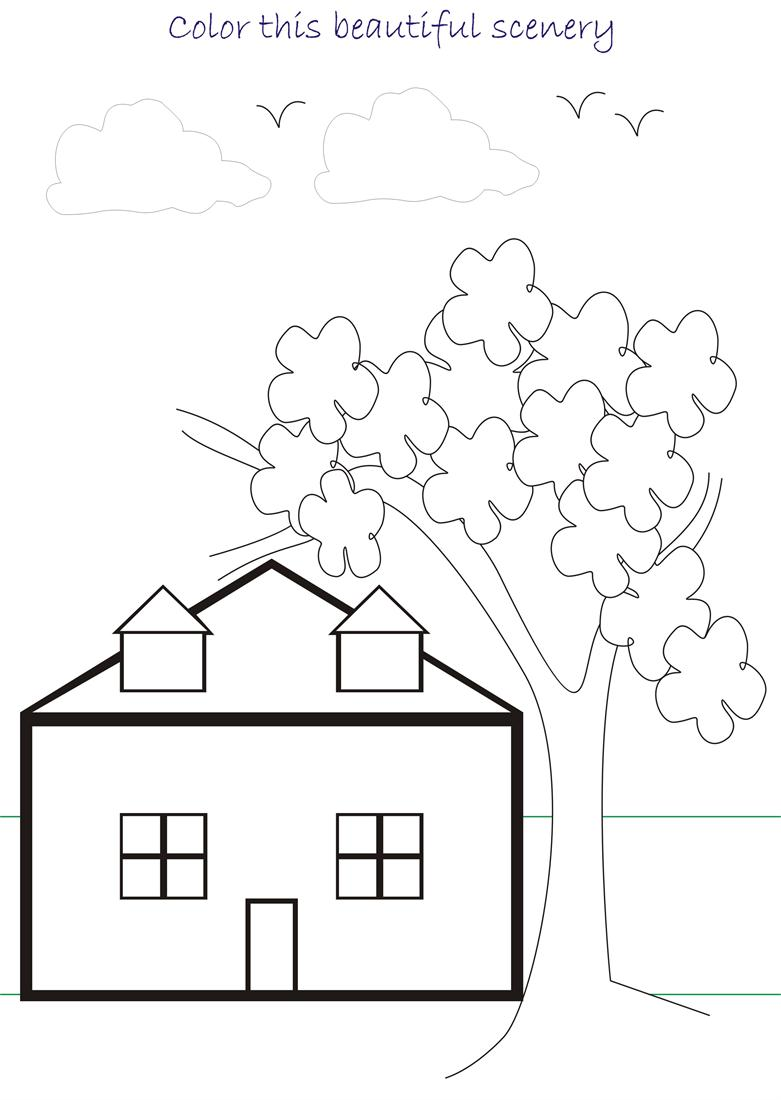 beautiful scenery coloring page for kids 2. Black Bedroom Furniture Sets. Home Design Ideas