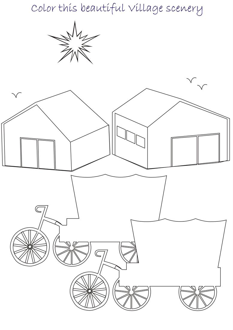 Beautiful scenery coloring page for kids 4