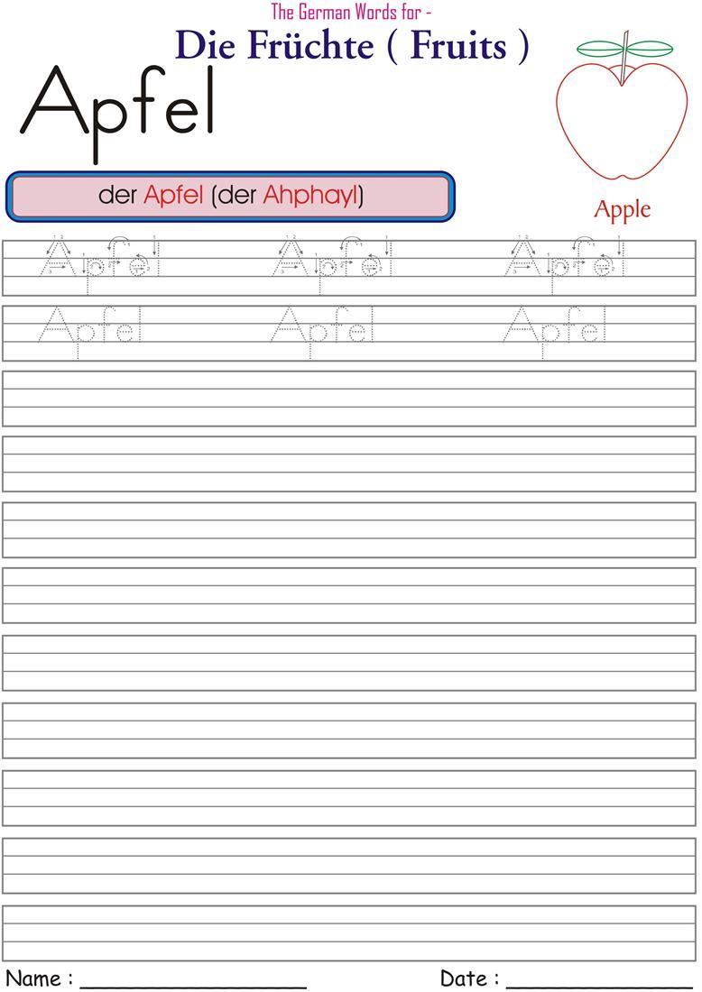 worksheets for german fruits names apfel. Black Bedroom Furniture Sets. Home Design Ideas
