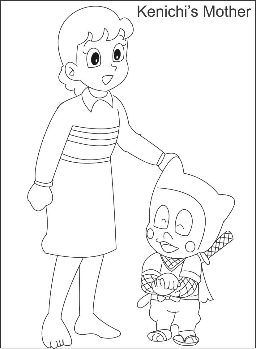Kenichi's mother coloring page for kids