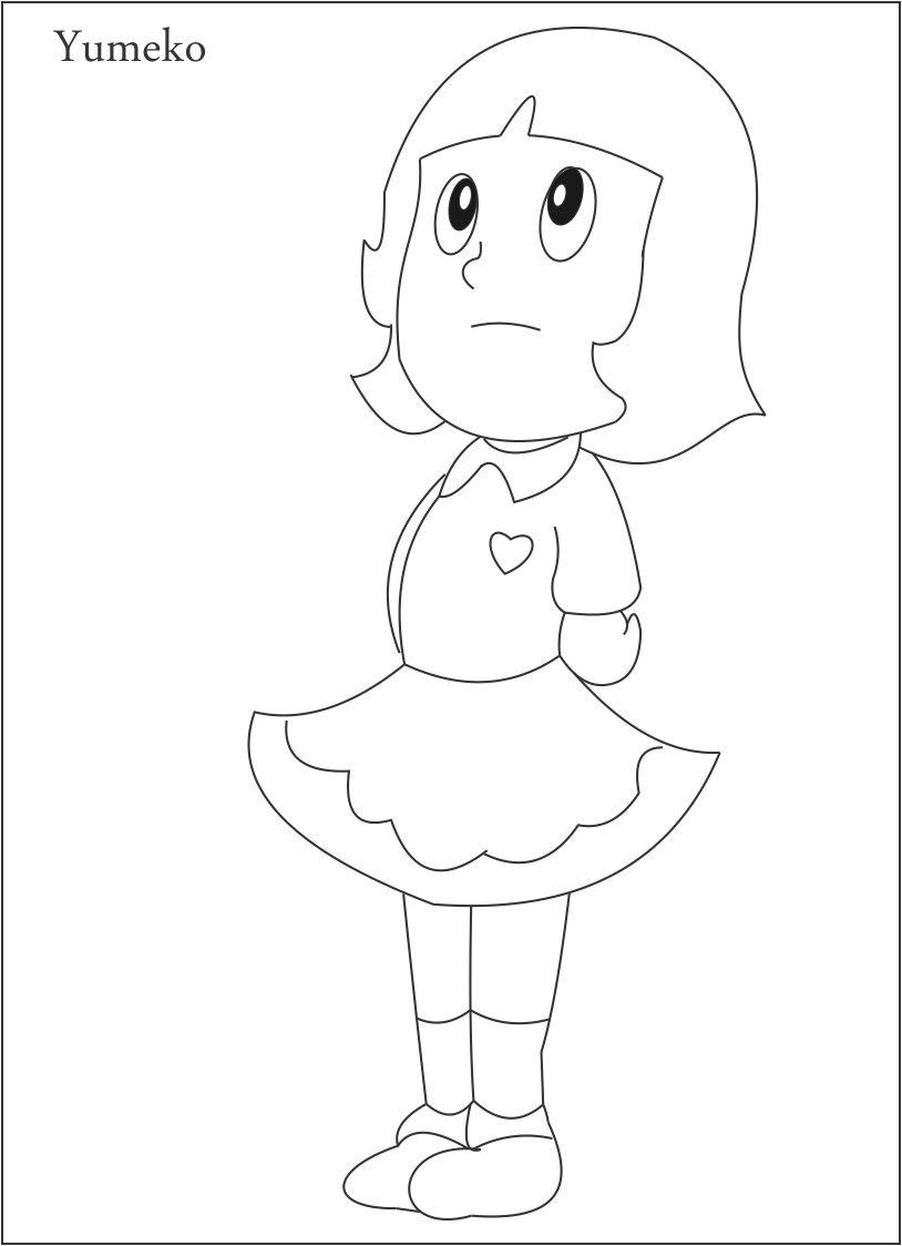 Yumeko coloring page for kids