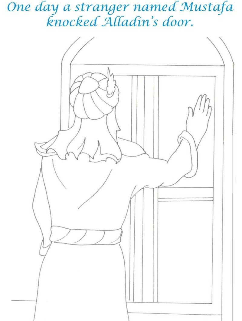 Alladin tales printable coloring page for kids 3