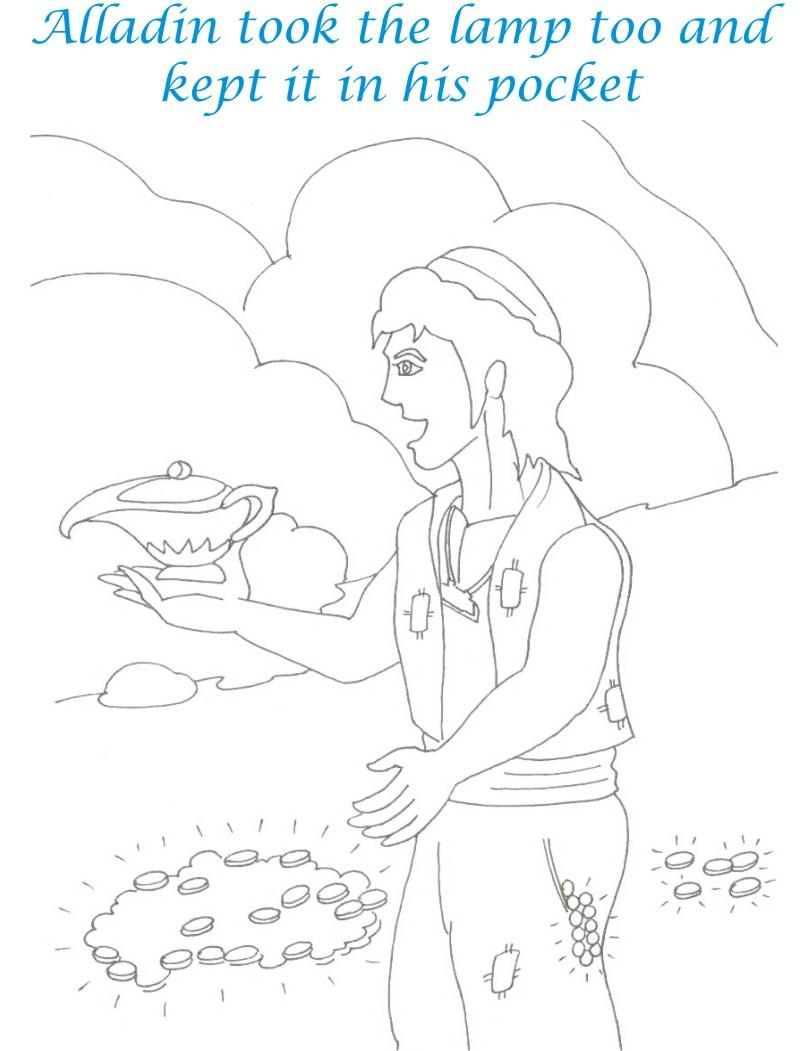 Alladin tales printable coloring page for kids 13