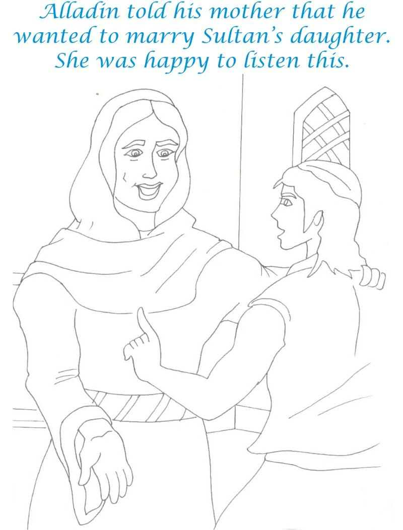 Alladin tales printable coloring page for kids 26