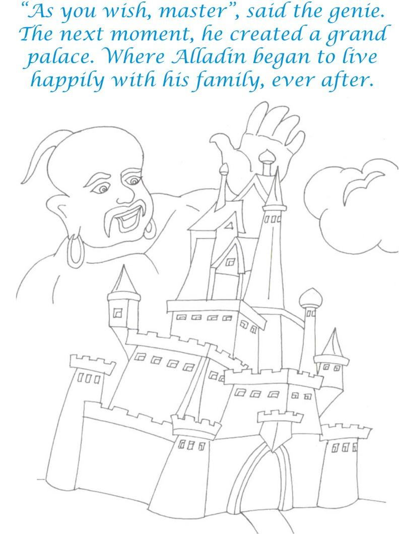 Alladin tales printable coloring page for kids 32