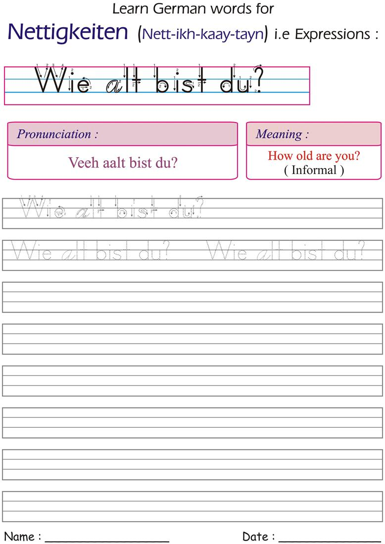 ask how old are you in informal way in german worksheets for practice. Black Bedroom Furniture Sets. Home Design Ideas