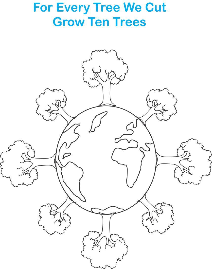 Earth day printable coloring page for kids 7