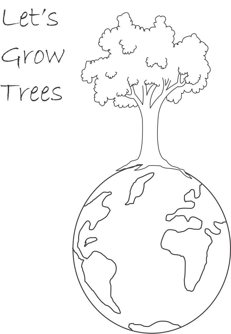 Plant Tree printable coloring page for kids