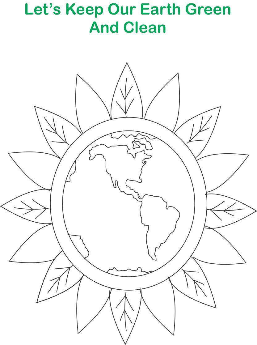 Green Earth printable coloring
