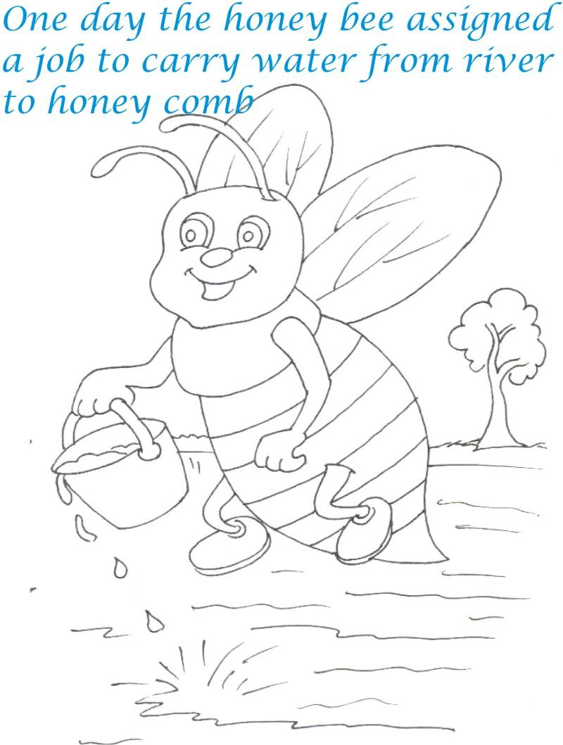 Bee and Dove story coloring page for kids 3