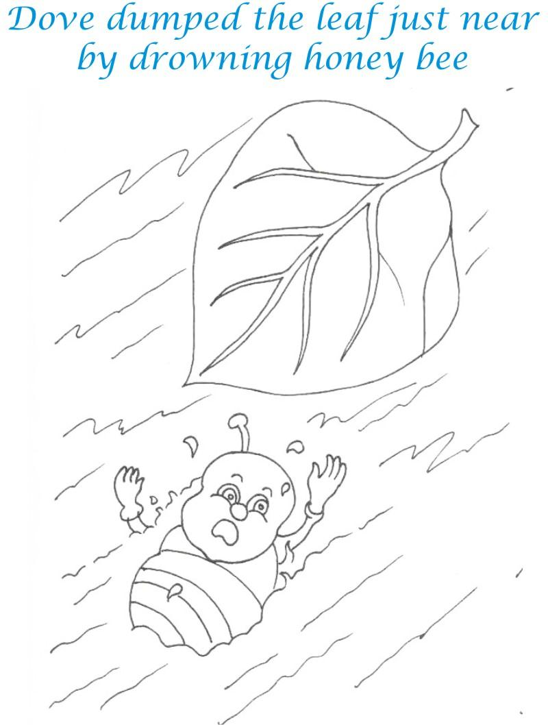 Bee and Dove story coloring page for kids 10