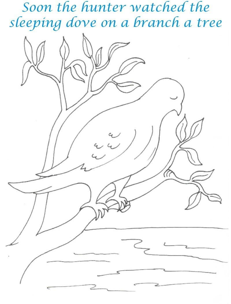 Bee and Dove story coloring page for kids 15