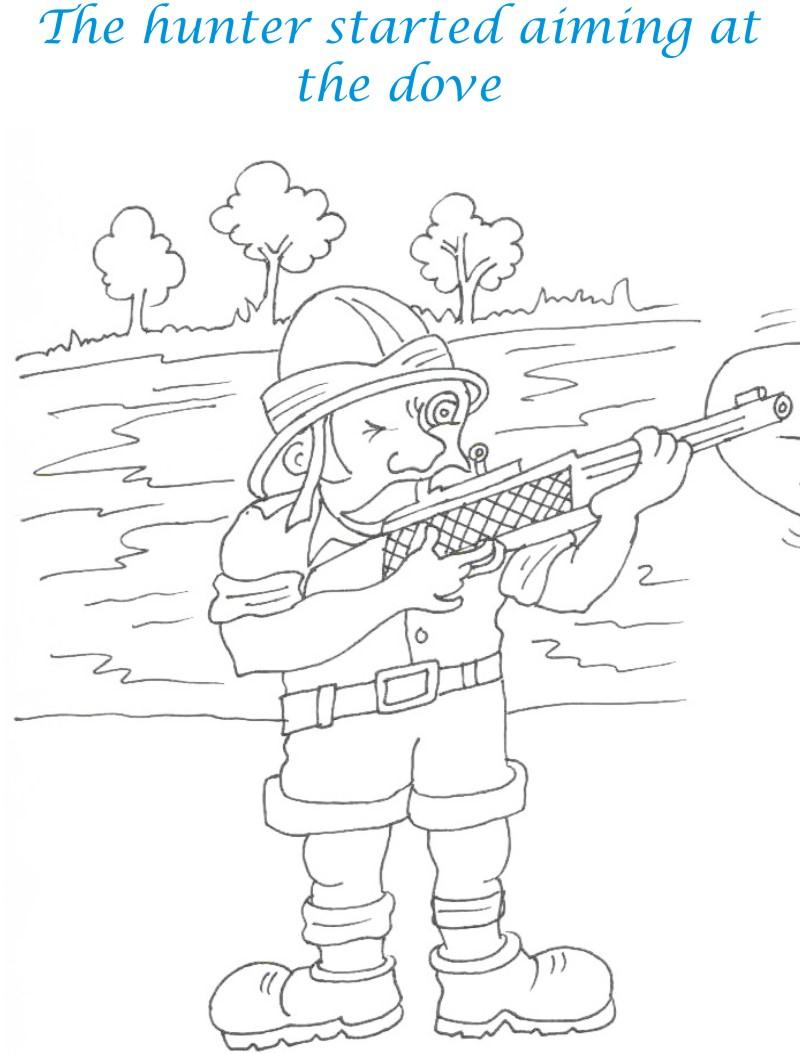 Bee and Dove story coloring page for kids 16