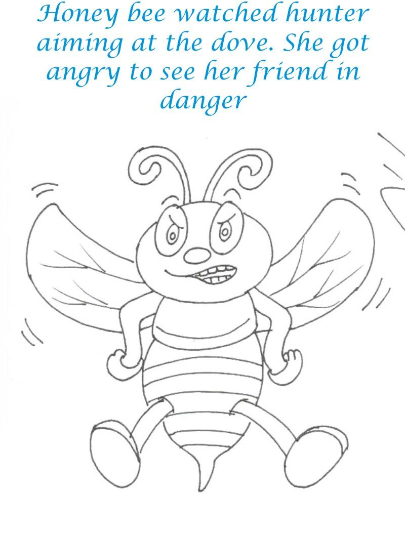 Bee and Dove story coloring page for kids 18