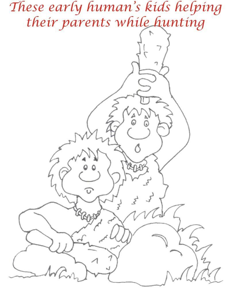 Early Humans printable coloring page for kids 10