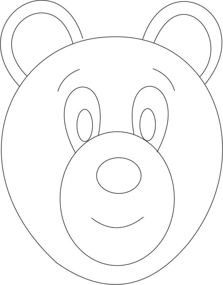 Bear Mask Printable Coloring Page For Kids