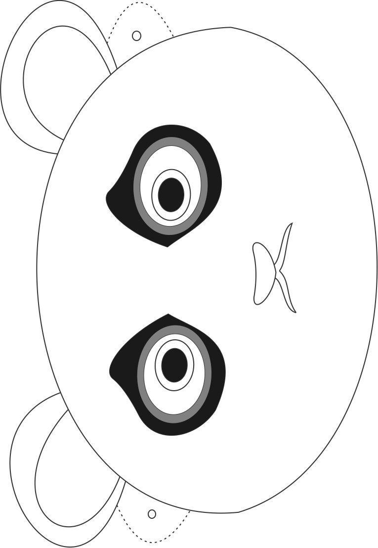Panda mask printable coloring page for kids