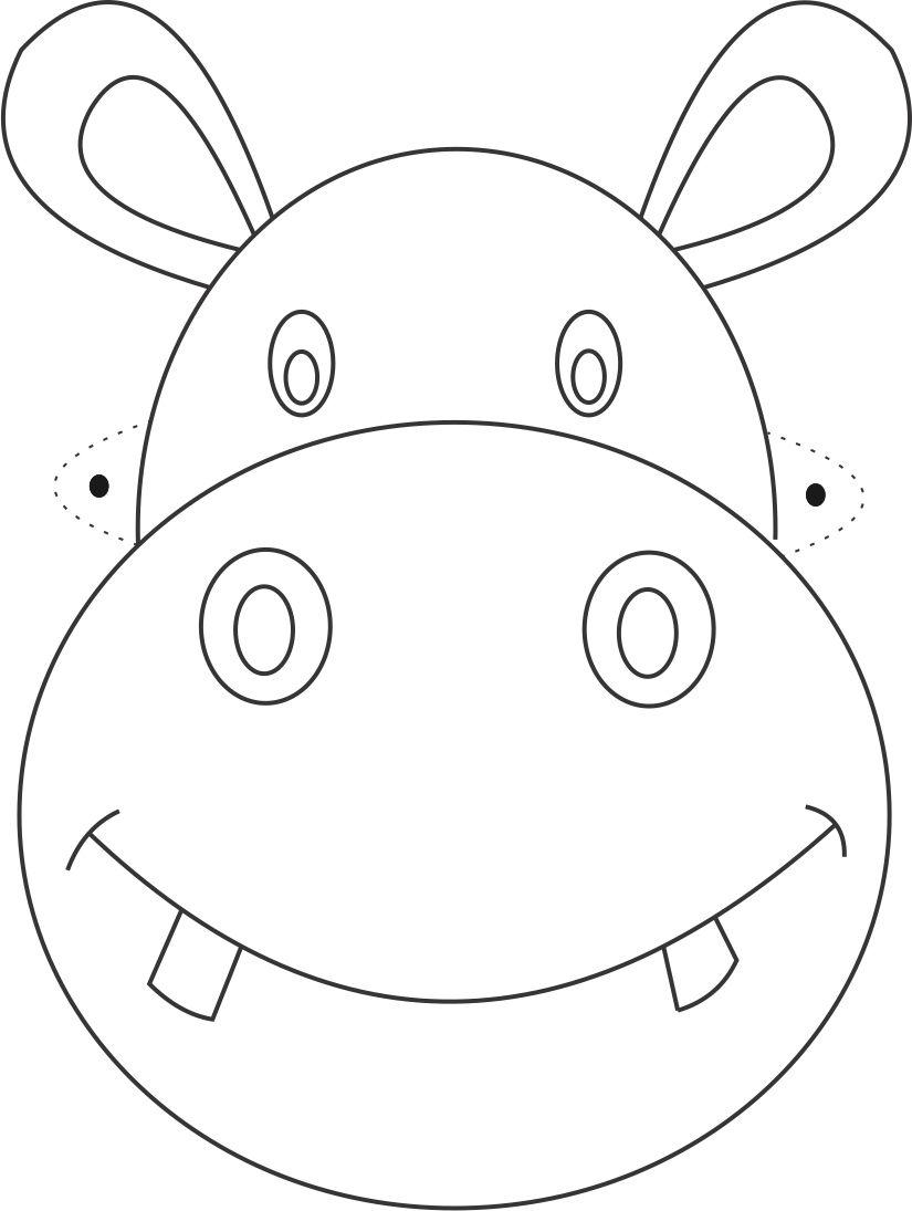 Hippo Mask printable coloring page