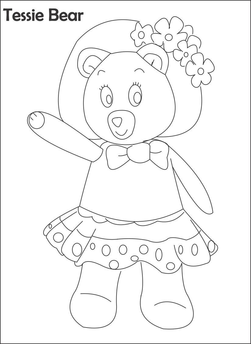Tessie bear printable coloring page for kids