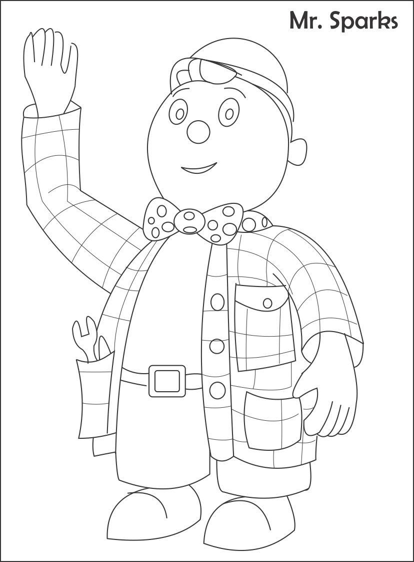 Mr. Sparks printable coloring page for kids