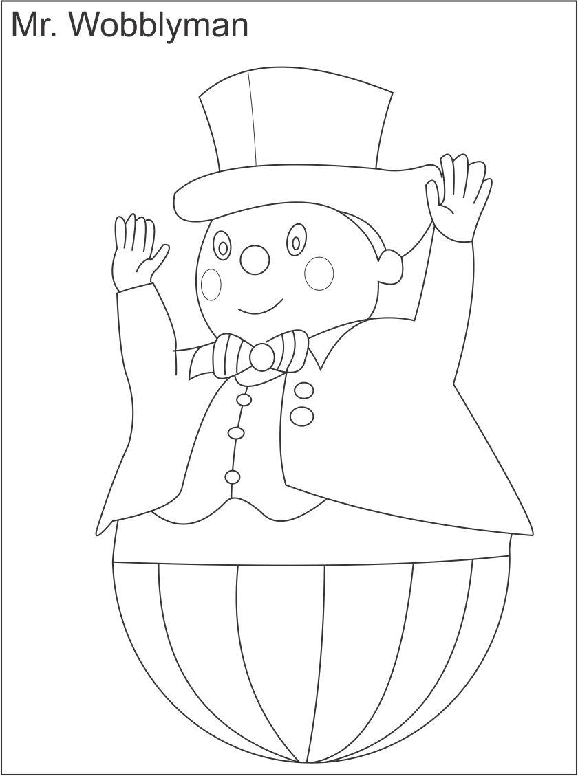 Mr Wobbly Man Printable Coloring Page For Kids