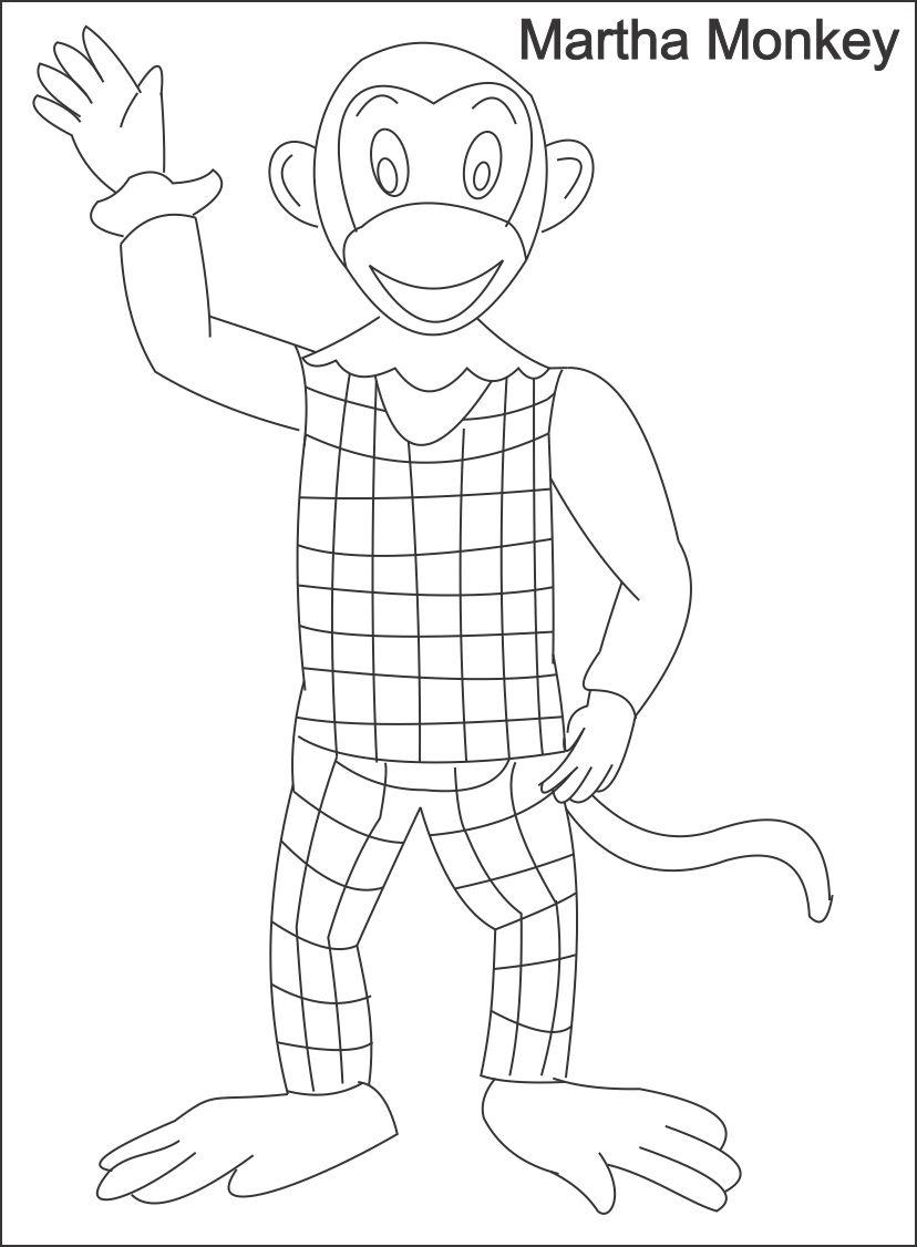 Monkeys - Free printable Coloring pages for kids | 1126x828