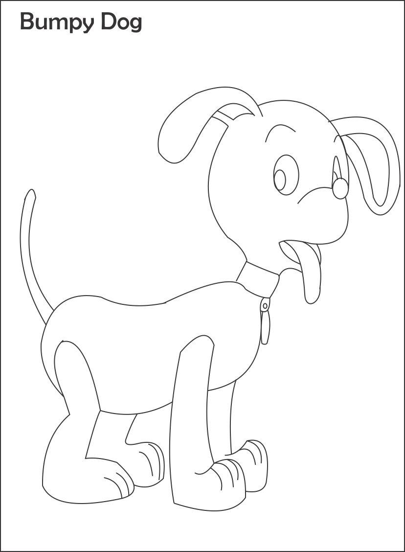 Bumpy dog printable coloring page for kids