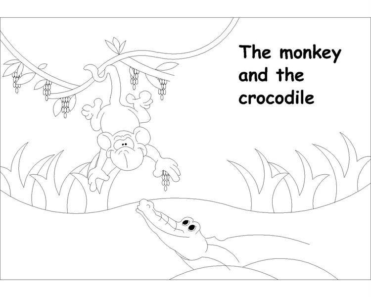 The Monkey and Crocodile story coloring page 1