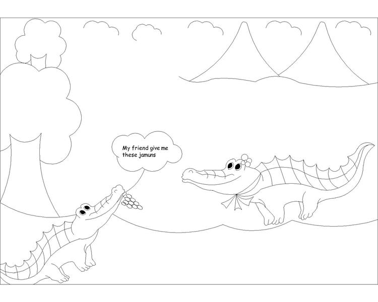 The Monkey and the Crocodile story coloring page 2