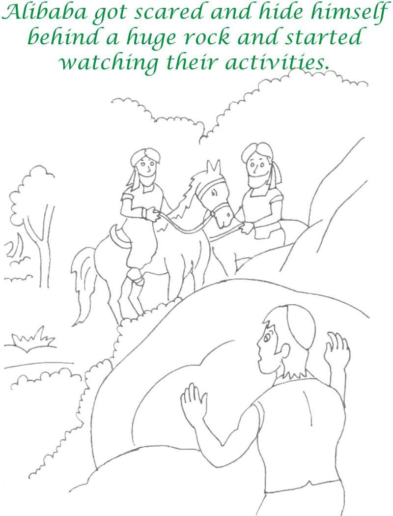 Alibaba story printable coloring page for kids 10