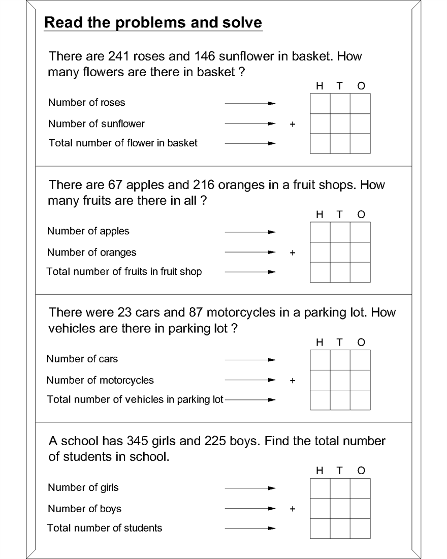 Maths worksheets for addition word problems
