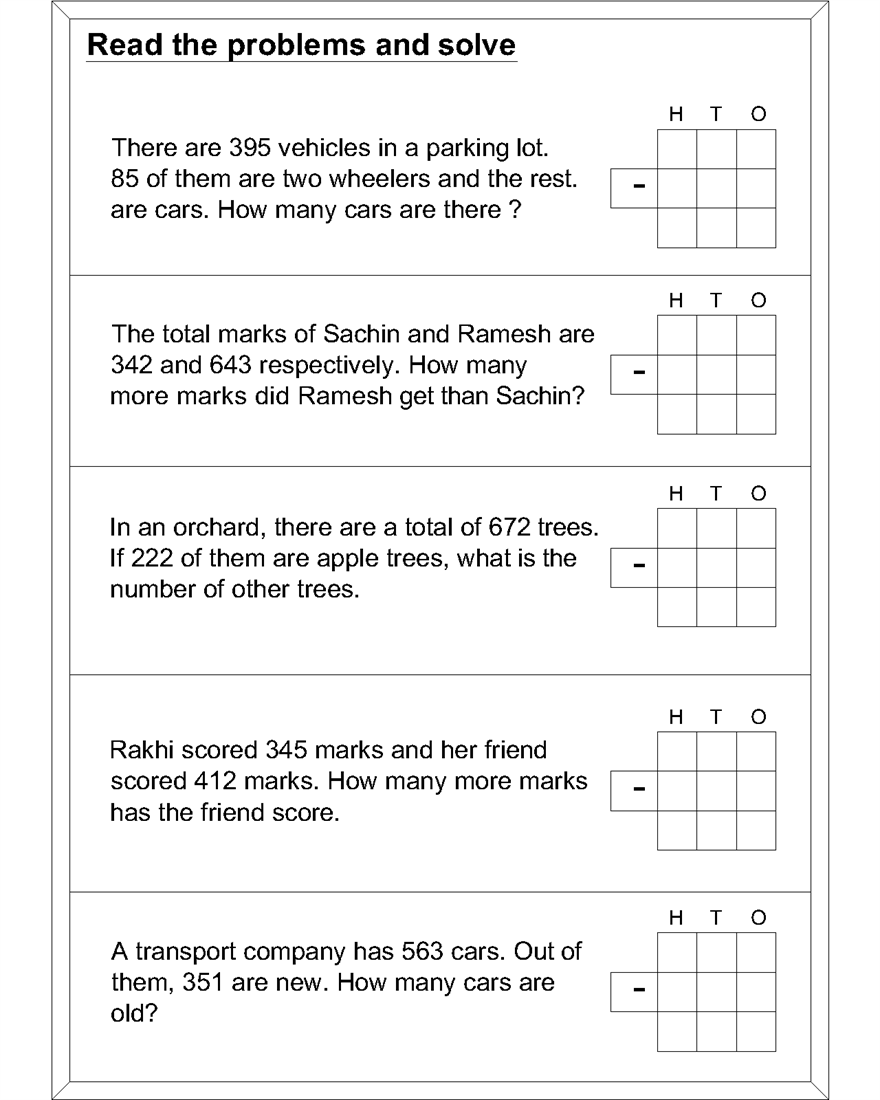 Math Subtraction Worksheets For Kids