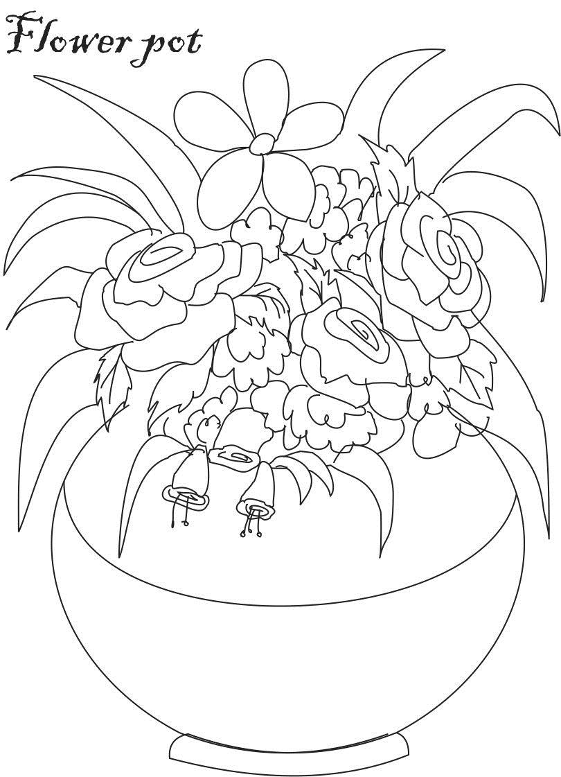 Flower pot coloring printable page for kids 7